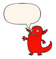 Cartoon halloween monster and speech bubble in vector