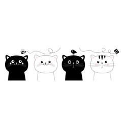 cat set black white head face line contour vector image