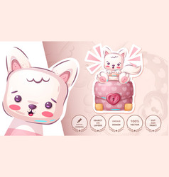 Cat with diplomat - cute sticker vector