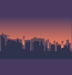 City silhouette with atmosphere at dusk vector