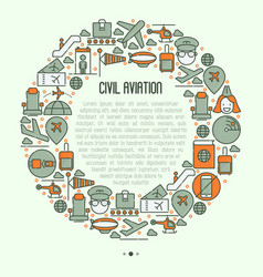 civil aviation concept in circle vector image
