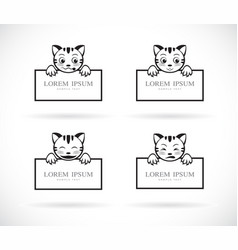 collection of black cartoon cats head with frame vector image