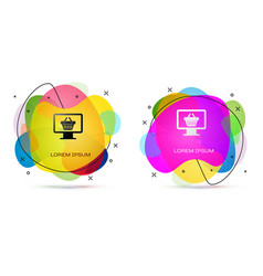 Color computer monitor with shopping basket icon vector