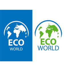 color label of eco earth on white and blue vector image