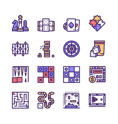 color line icon set table games vector image