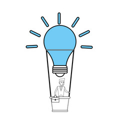 color silhouette image cartoon ligth bulb hot air vector image