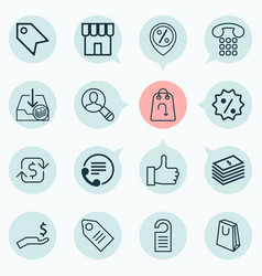 Commerce icons set collection of shop recurring vector