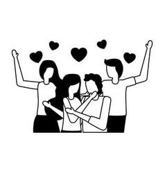 couple romantic love flat design vector image