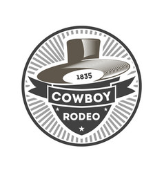 Cowboy rodeo vintage isolated label vector