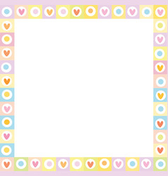 cute square love border made of hand drawn hearts vector image