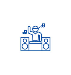 Dj playing mix line icon concept dj playing mix vector
