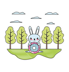 Doodle male rabbit with sweet donut in the vector