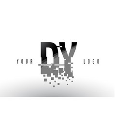 Dy d y pixel letter logo with digital shattered vector