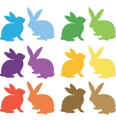 Easter bunny silhouette collections vector
