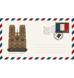 envelope with Notre Dame de Paris vector image vector image