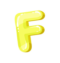 F yellow glossy bright english letter kids font vector