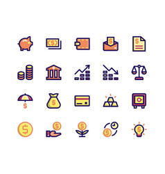 Financial filled line icons vector