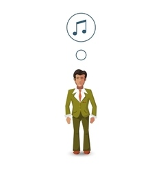 Flat character musician with with profession icon vector