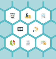 flat icons paper tactics profit and other vector image