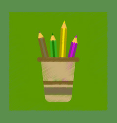 flat shading style icon pencils in stand vector image