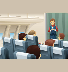 flight attendant demonstrate how to fasten the vector image