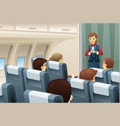 Flight attendant demonstrate how to fasten vector