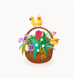 flower basket with two chickens on handle of vector image