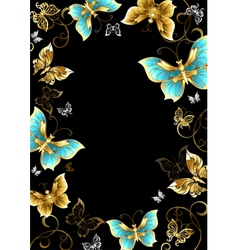Frame with Gold Butterflies vector image