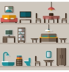 Furniture icon set for rooms of house vector image
