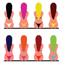Girl in bikini set two vector