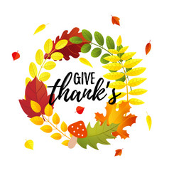 Give thank s greeting card with autumn leaves vector