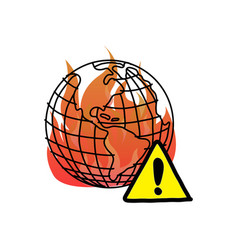 Global warming with warning sign vector