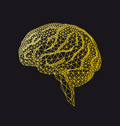 gold human brain with geometric pattern vector image