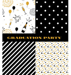 Graduation pattern collection black and golden vector