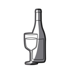 Grayscale silhouette with bottle of wine and glass vector