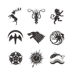 Great kingdoms houses gaming heraldic icons vector