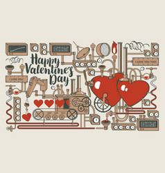 greeting card for valentines day with love vector image