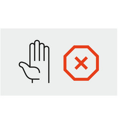 hand stop sign icon set stop symbols vector image