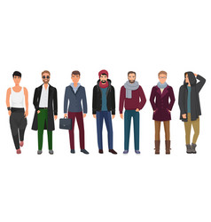 Handsome and stylish men set cartoon guys male vector