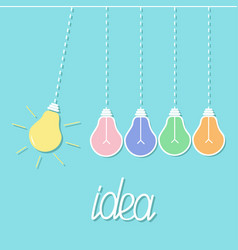 hanging colorful yellow light bulb switch on off vector image