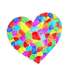 heart is composed of multi-colored stones vector image