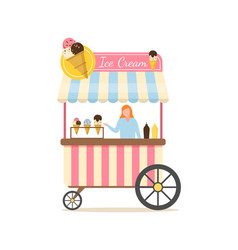 ice cream stall seller with dessert types vector image