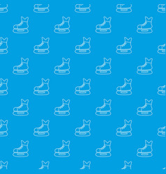 ice hockey skate pattern seamless blue vector image