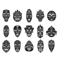 idol mask monochrome black hawaii tiki tahitian vector image