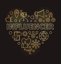 influencer concept outline golden heart vector image