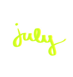 july hand drawn typography lettering text neon vector image