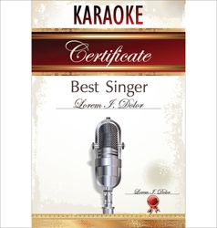 Karaoke certificate template vector image