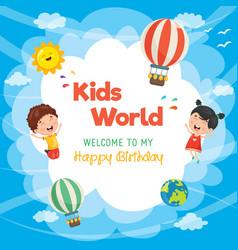 kids birthday template vector image