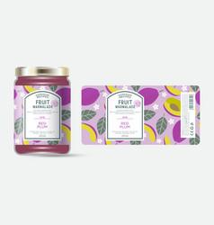 Label packaging jar marmalade pattern red plum vector