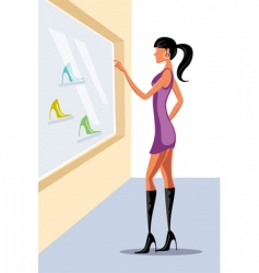 Lady window shopping vector